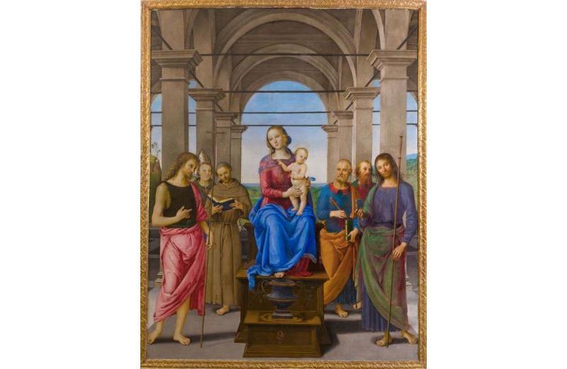 Pala d'altare del Perugino Madonna col Bambino e i Santi Giovanni Battista, Ludovico, Francesco, Pietro, Paolo e Giacomo Maggiore, Senigallia