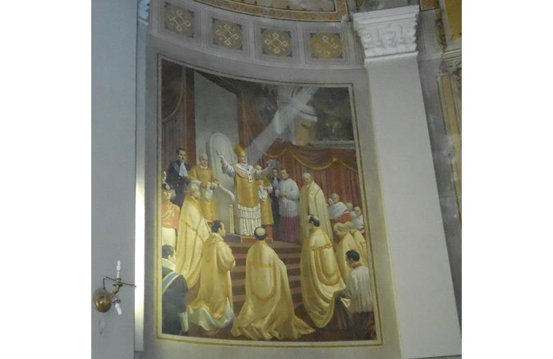 Affresco che ritrae papa Pio IX nella chiesa di Santa Maria Immacolata a Senigallia E. Atzori