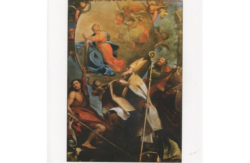 Annunciazione con i santi Giovanni Battista, Biagio, Antonio Abate e santo vescovo, Giovanni Anastasi ( Senigallia 1653 – Macerata 1704) Pinacoteca Diocesana