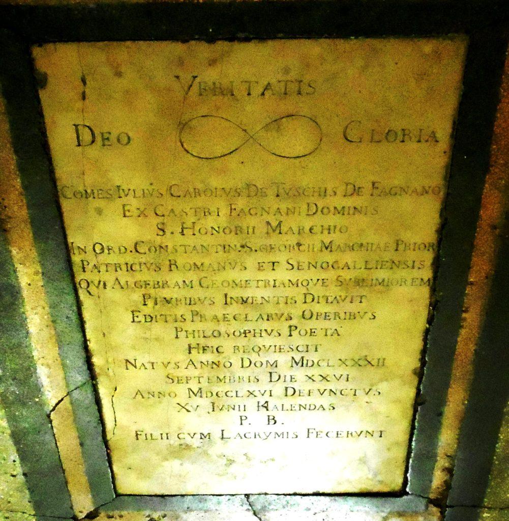 Lapide della sepoltura di Carlo Fagnani, matematico illustre del 1700