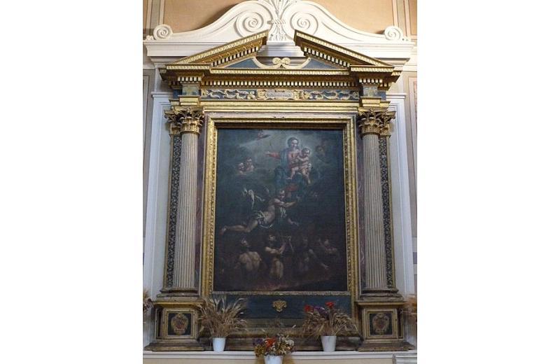 Madonna con Bambino e Angeli nell'atto di liberare le anime del Purgatorio nella chiesa di San Giovanni Battista a Roncitelli di Senigallia