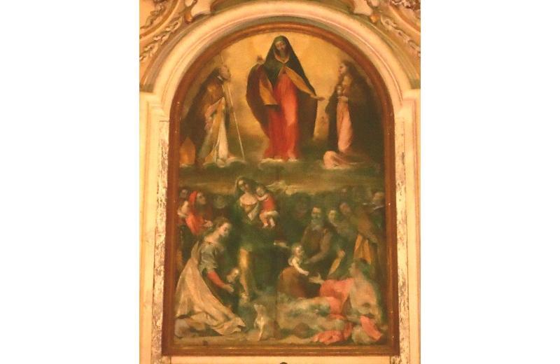 Madonna della Misericordia, fra S. Maria Maddalena e S.Paolino, protettori della città nella chiesa della Maddalena di Senigallia, scuola del Barocci (sec XVI –XVII)