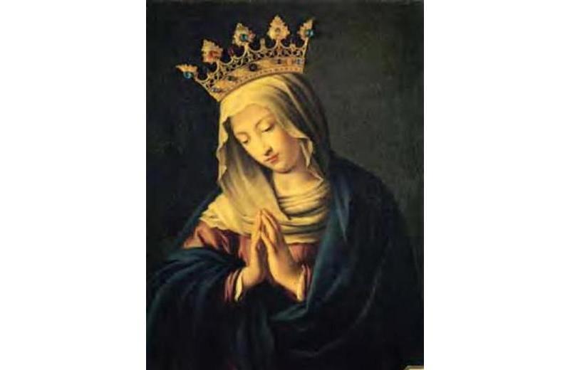 Madonna detta del Sassoferrato, inserita in una artistica cornice marmorea, scolpita da Tecchi di Fano