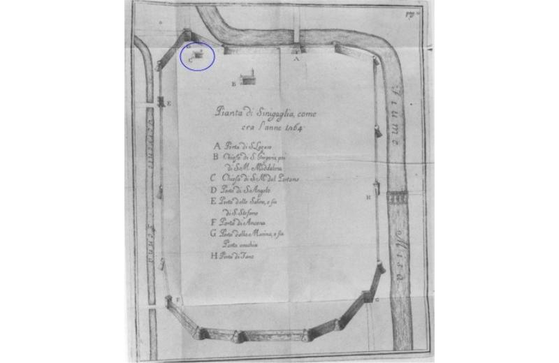 Mappa di Senigallia nel XIII secolo in un testo del XVIII secolo