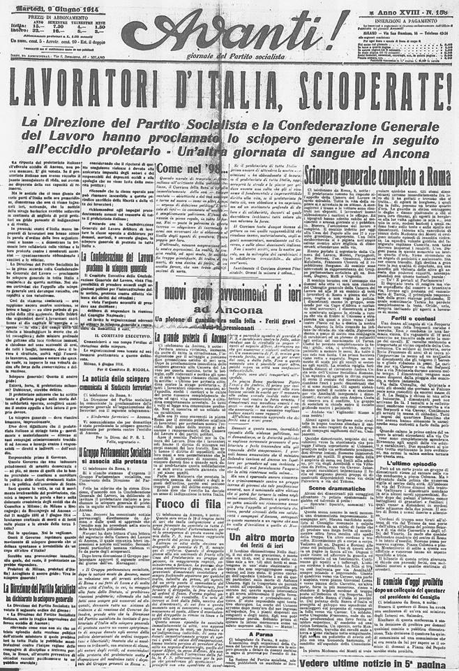 Settimana Rossa - Avanti! del 9 giugno 1914