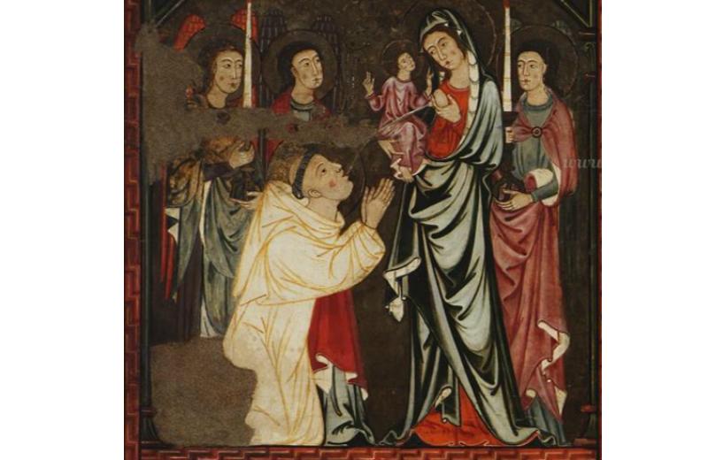 """""""Lattazione"""" autore sconosciuto, Pala di S. Bernardo con scene della sua vita, 1285-90, Museu de Mallorca, Palma, Majorca"""