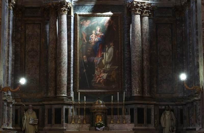 """""""Lattazione"""", in cui La Vergine Maria schizza sulla bocca di San Bernardo, a lei così devoto, un rivolo di latte dal suo seno, in ringraziamento delle lodi ricevute"""