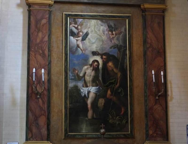 Battesimo di Gesù, dipinto da Palma il Giovane (Jacopo Negretti 1548 –1628) nell'Abbazia Santa Maria di Castagnola a Chiaravalle