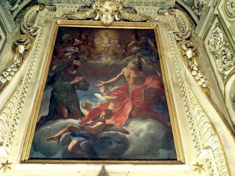 Giacinto Brandi (1653-1691), Gesù Bambino e, in atto di adorazione, San Girolamo e San Rocco nella Chiesa di San Rocco a Ostra