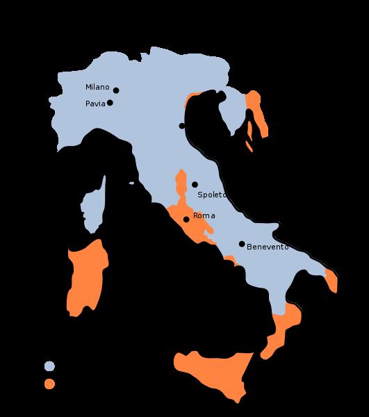 La massima estensione dei domini longobardi (in azzurro) dopo le conquiste di Astolfo (751)