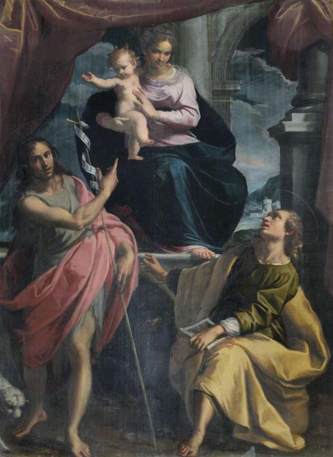 Madonna col Bambino e i Santi Giovanni Battista ed Evangelista, Ridolfi quarto altare a dx, chiesa di Sant'Agostino a Mondolfo