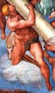 Angelo che porta la colonna alla quale è legato Cristo per la flagellazione di Michelangelo censurato