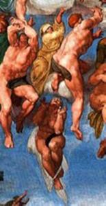 Gruppo di Beati che ascendono al cielo di Michelangelo censurato