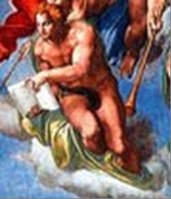 L'Arcangelo Gabriele con il libro degli eletti di Michelangelo censurato