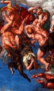 Niccolo III al secolo Giovanni Gaetano Orsini e un Angelo che respinge un reprobo di Michelangelo censurato